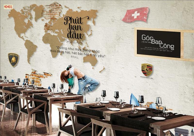 Mẫu Tranh 3D Quán Trà Sữa, Cafe - 40401