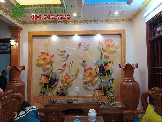 Tranh Hòa Sen Phòng Khách