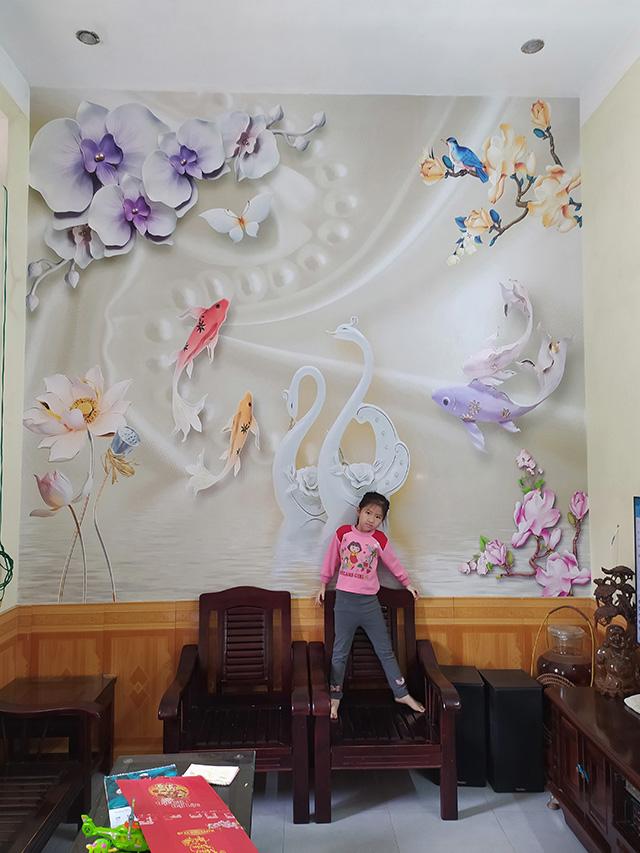 Tranh Tường Hoa 3D Phòng Khách