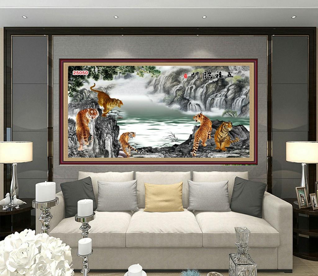 Bầy Hổ Quẩn Hùng Tranh Phòng Khách - 25050