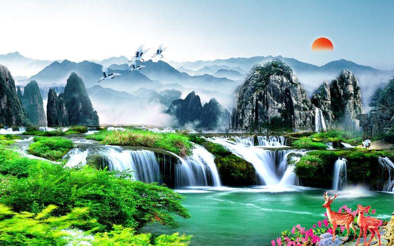 Tranh Dán Tường Sơn Thủy - ST68