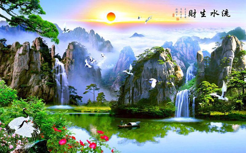 Tranh Dán Tường Sơn Thủy - ST75