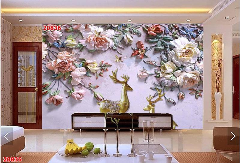Tranh Dán Tường Hoa 3D - TH24111