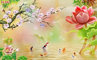Tranh Dán Tường Hoa 3D - TH24113